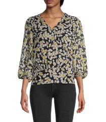 karl lagerfeld paris women's floral surplice blouse - black multi - size xl