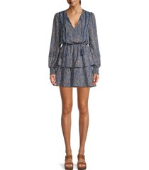 allison new york women's printed tiered blouson dress - red blue - size l