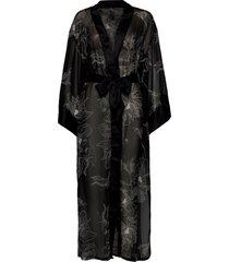 kimono long chiffon lotus kimonos svart hunkemöller