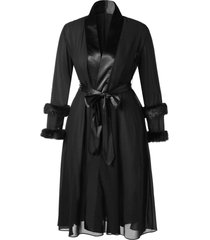 plus size belted fluffy sleeves midi wrap coat