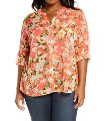 plus size women's kut from the kloth jasmine roll sleeve top, size 1x - orange