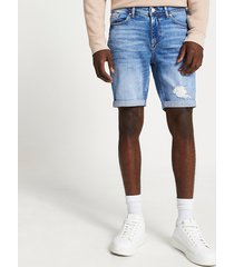 river island mens blue ripped skinny denim shorts