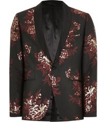 mens metallic red and gold jacquard skinny suit jacket