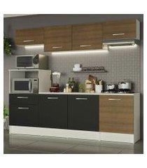 cozinha completa madesa onix 240003 com armario e balcão branco/rustic/preto 097k branco/rustic/preto