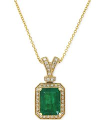 brasilica by effy emerald (2-1/5 ct. t.w.) and diamond (1/5 ct. t.w.) pendant necklace in 14k gold, created for macy's