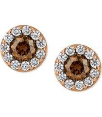 le vian chocolatier diamond stud earrings (3/4 ct. t.w.) in 14k rose gold