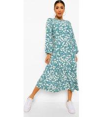 bloemenpatroon midaxi jurk met ballonmouwen, green