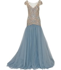 drop waist embroidered ball gown