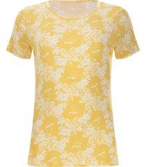 camiseta amarilla con flores color amarillo, talla l