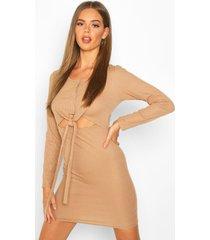 jurk met knoop detail en lange mouwen, geelbruin