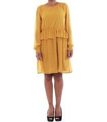 jurk vero moda 10196226 vmkim l/s short dress o17 harvest gold