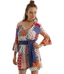 macaquinho manga curta estampa patchwork com faixa lisa azul aha - azul - feminino - dafiti