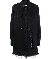 off-white frayed industrial belted denim dress - black