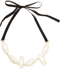 jw anderson oval pearl tie necklace - white