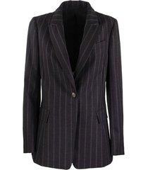 blazer comfort virgin wool chalk stripe jacket with precious band