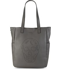 perforated skull leather shopper