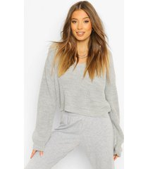 cropped fisherman v neck sweater, grey