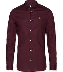ls slim fit poplin shirt skjorta casual röd lyle & scott