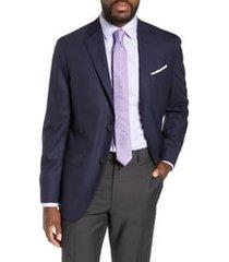 men's nordstrom tech-smart trim fit stretch wool travel sport coat, size 48 regular - blue