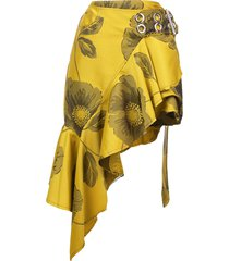 marques'almeida belted floral ruffle skirt - yellow