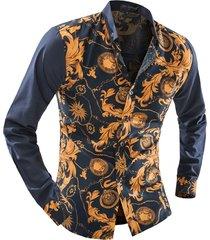 camicia per uomo con stampa patchwork