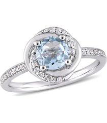 blue topaz (1 ct. t.w.) and diamond (1/6 ct. t.w.) swirl ring in 10k white gold