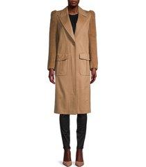 fendi women's camel hair & wool faux fur-sleeve coat - camel - size 42 (8)