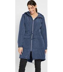 licht gevoerde, lange outdoor jas met tunnelkoord