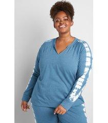 lane bryant women's livi split neck sweatshirt - tie-dye 18/20 legion blue