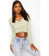 tall basic rib ruched front crop top, sage