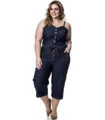 macacão jeans feminino pantacurt plus size