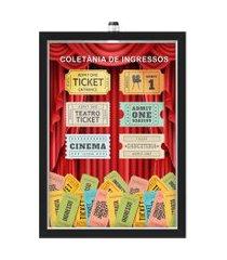 quadro caixa  porta ingressos 33x43 cm (com led) lojaria e nerderia. coletania de ingressos preto