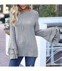 zanzea más el tamaño pullover tops equipo de las mujeres nexk largo de la llamarada de la manga blusa ocasional gris -gris