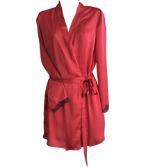 womens ladies designer short deep red lace trim silk wrap robe gown with belt