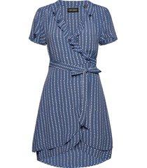 summer wrap dress kort klänning blå superdry