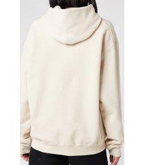 alexander wang women's garment washed hoodie with wang puff print - turtle dove - l
