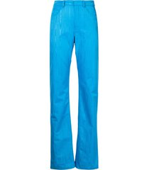 marine serre moire-effect straight trousers
