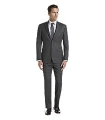 traveler collection tailored fit herringbone stripe men's suit - big & tall by jos. a. bank