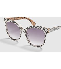 lane bryant women's animal print d-frame sunglasses no black