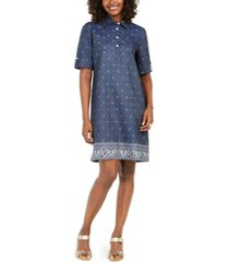karen scott plus size cotton chambray dress, created for macy's