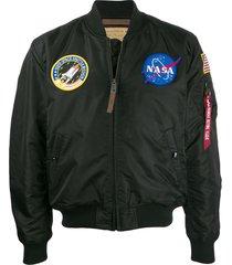 alpha industries nasa satin bomber jacket - black