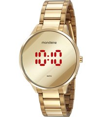 relógio digital mondaine feminino - 32060lpmvde1 dourado