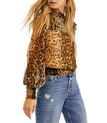 women's free people roma blouse, size medium - brown