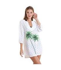 vestido gola v laise coqueiro verde - branco - líquido