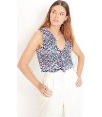 """blusa estampado multicolor, cuello en """" v"""", manga sisa, tela fluida color-multicolor-talla-xl"""