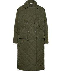 robyn coat gevoerde lange jas groen nué notes