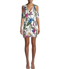 glory cold-shoulder floral mini dress