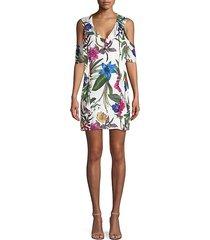 glory cold-shoulder floral mini dress
