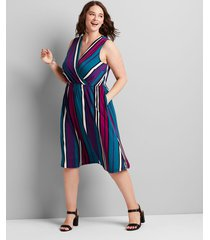 lane bryant women's knit kit crossover striped fit & flare dress 22/24 summer multi stripe