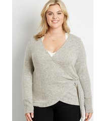 maurices plus size womens 24/7 solid cozy tie wrap long sleeve tee beige